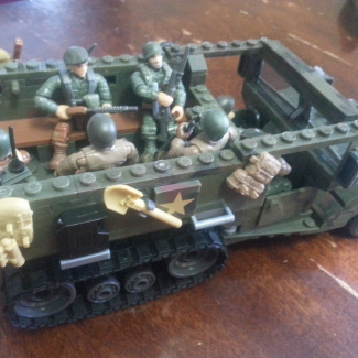 Image of: Modified halftrack ambush and sherman tank