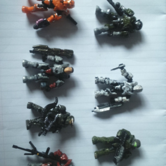 Image of: All of the Spatan Story figs complete with weathering and wearing.