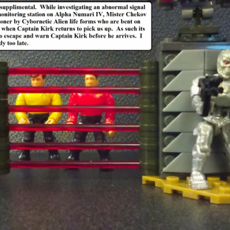 Image of: Cyborg Alien Captures Scotty and Chekov