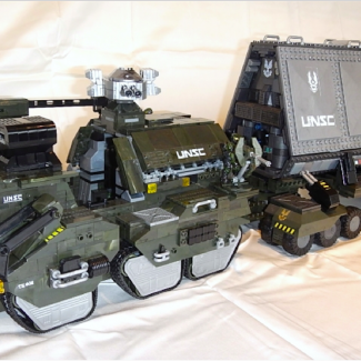Image of: Halo Wars 1 UNSC M312 Elephant Troop Carrier, in-game upgrades & interiors