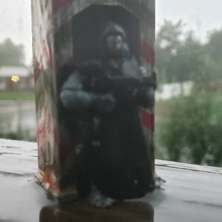 Image of: Close up video of soldier in downpour