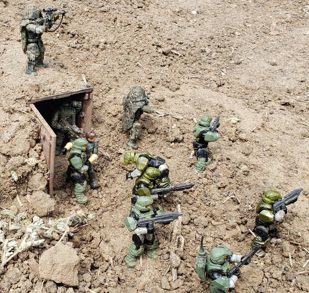 Marines leave the mineshaft