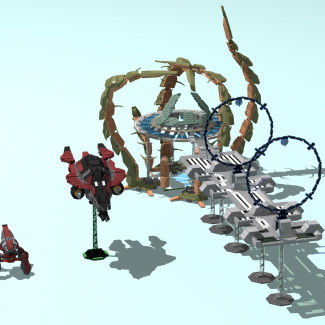 Image of: HALO models (2 part, big models: Banished Locust, Banished Phantom, Bridge)