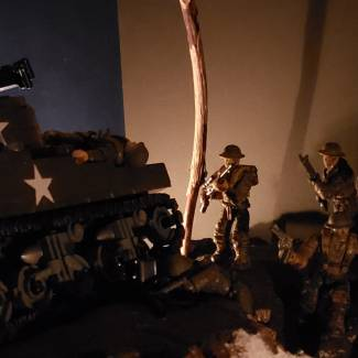 Image of: Allied troops pass destroyed Sherman and US troops