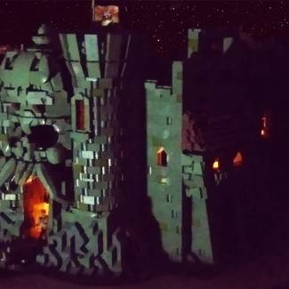 Image of: Castle Grayskull at night
