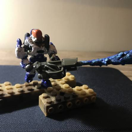 Custom halo spartan with blue flame thrower