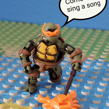 Mikey found a crab, but it won't sing